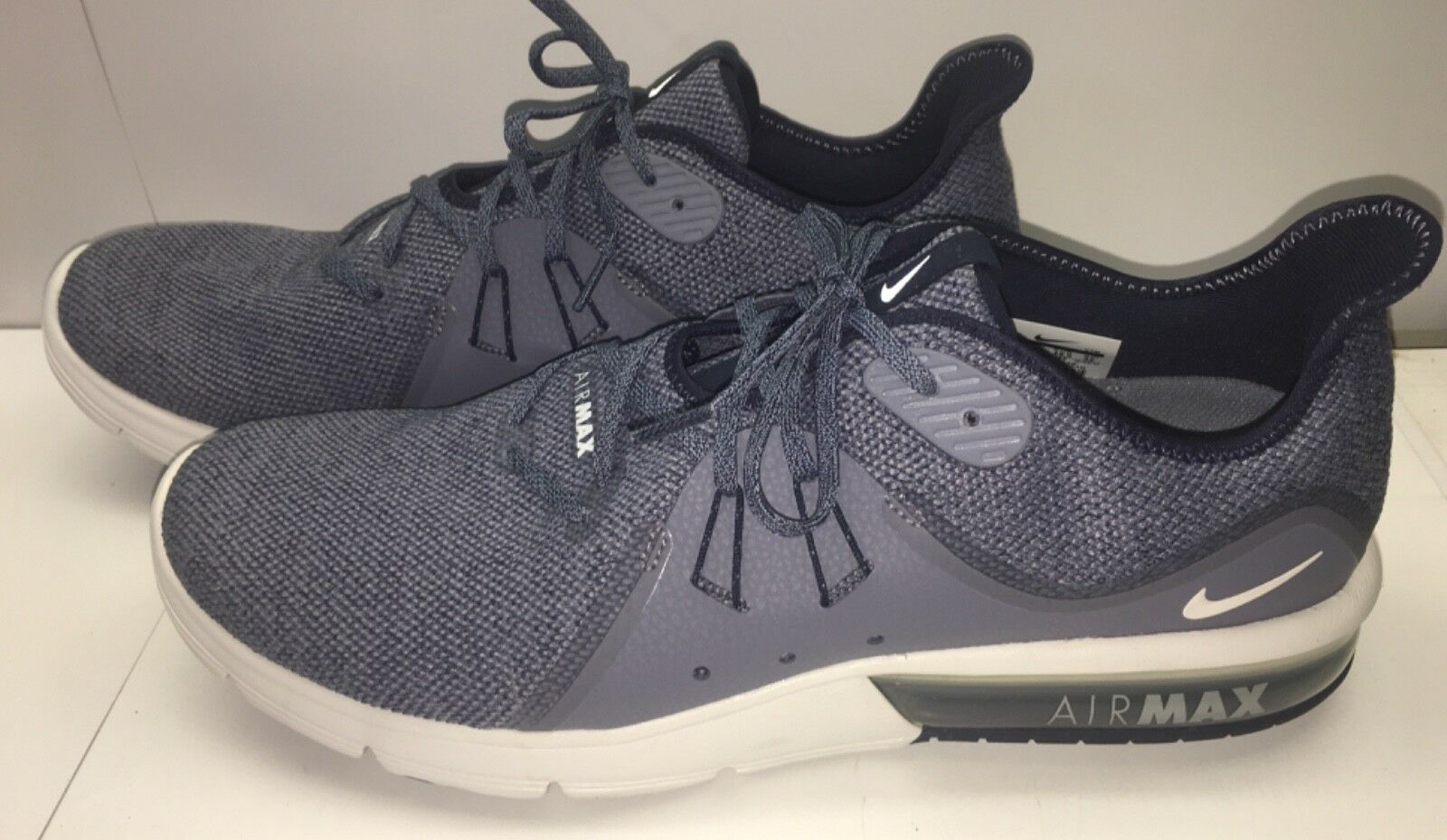 Men's NIKE AIR MAX SEQUENT 3 Running shoes OBSIDIAN blueE WHITE Size 14 Near Mint