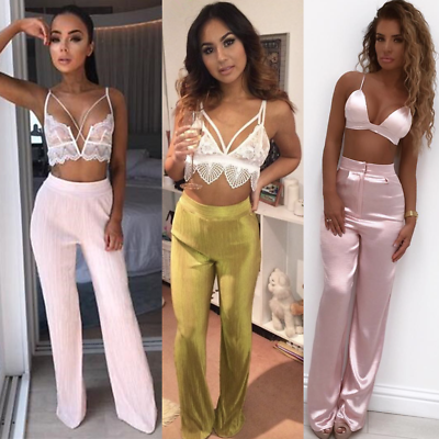 Ladies High Waist Crinkle Foil Trousers Women Pleat Pleated Flare Silk Pants Uk Duftendes (In) Aroma