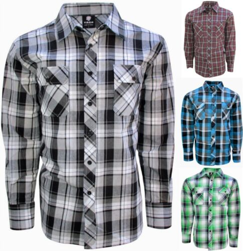 Casual Button Down Shirt For Men Plaid in Size Small to 3XL Long Sleeve