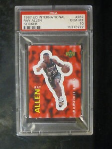 1997-UD-International-Sticker-262-Ray-Allen-Milwaukee-Bucks-PSA-10-GEM-MINT-552