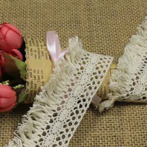 Vestido de Novia Vintage Hueco Borla Ribete de Encaje de ganchillo de algodón Ropa Accesorios