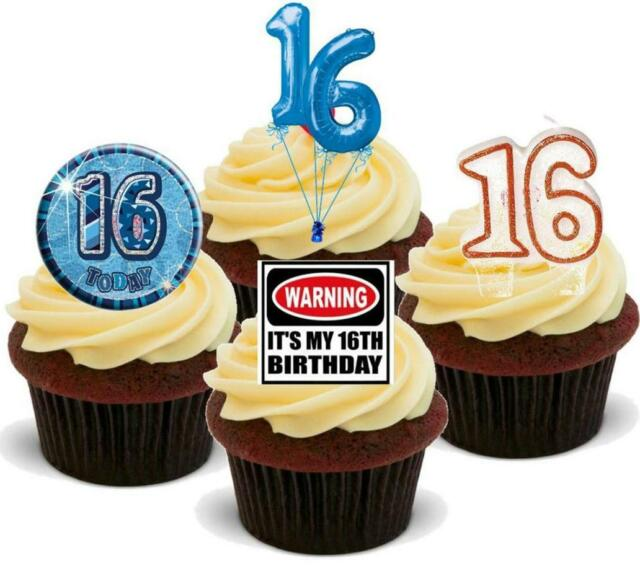 16th Birthday Mix 12 Standups Edible Cake Toppers Boys Male Son