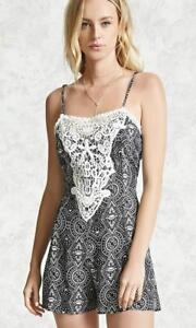 New-Women-Forever-21-Woven-Tribal-Print-Dress-Blouse-Embroidered-Lace-sz-Large-L