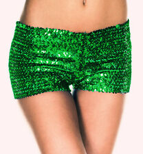 GREEN SEQUINNED HOT PANTS BOOTY SHORTS RHUMBA KNICKERS BURLESQUE BLING SEQUIN