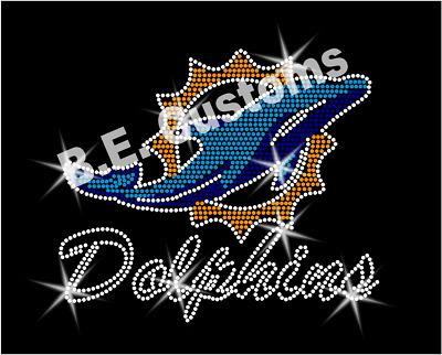 "Iron On, Rhinestone Transfer /""Miami Dolphins/"" Hotfix"