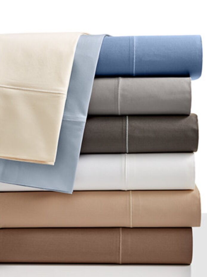Hotel Collection Solid 525TC King Flat Sheet & 2 Pillow Cases Ivory 100% Cotton