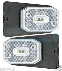 2 x WHITE CLEAR FRONT MARKER LIGHTS LAMPS IFOR WILLIAMS BRIAN JAMES TRAILER