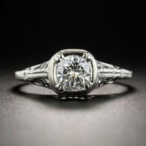 Vintage 925 Silver Round White Topaz Diamond Carve Wedding Ring Wholesale Sz6-10