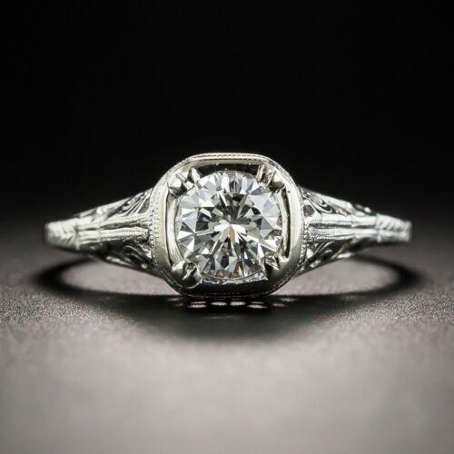 Vintage 925 Argent Blanc Topaz Engagement Anneau Mariage Cadeau Bijoux En Gros