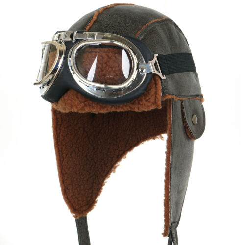 ililily Aviator Hat Winter Snowboard Fur Ear flaps Trooper Trapper Pilot Goggles