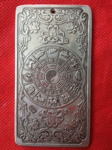 collectibles Chinese Old 12 Zodiac Dragon tibet Silver Bullion thanka amulet b