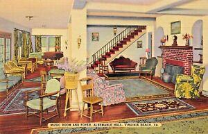 VIRGINIA-BEACH-VA-ALBEMARLE-HALL-MUSIC-ROOM-amp-FOYER-1944-POSTMARK-POSTCARD
