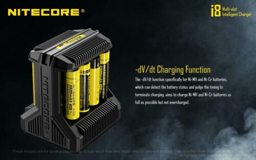 Nitecore i8 smart batteries charger with 8 independent ports 18650 16340 arlo