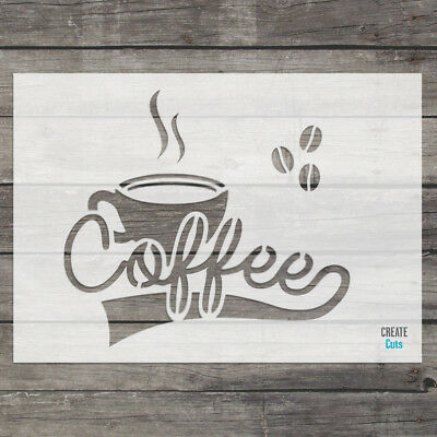 Coffee Cup STENCIL Love Coffee Drink Craft Wall Art Template Create Cuts