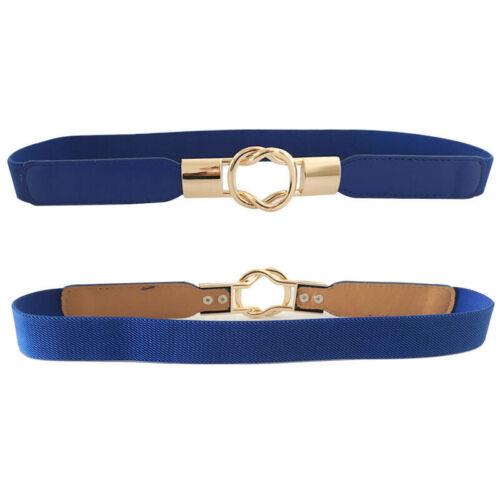 Womens Stretch Elasticated Skinny Waist Belt Dress Thin Waistband Buckle Belts