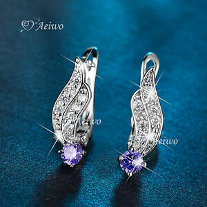 8746d15dd Details about 18K WHITE GOLD GF HUGGIE MADE WITH SWAROVSKI CRYSTAL STUD  EARRINGS PURPLE