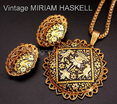 Antique 1940 Exquisite Miriam Haskell Damascene Necklace Vintage Earrings Set