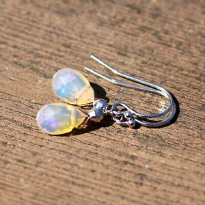 Details About Natural Welo Opal Earrings Solid 14k White Gold 585 October Birthstone