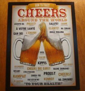 CHEERS AROUND THE WORLD SIGN Dorm Beer Mug Bar Pub Tavern Home Decor Sign NEW