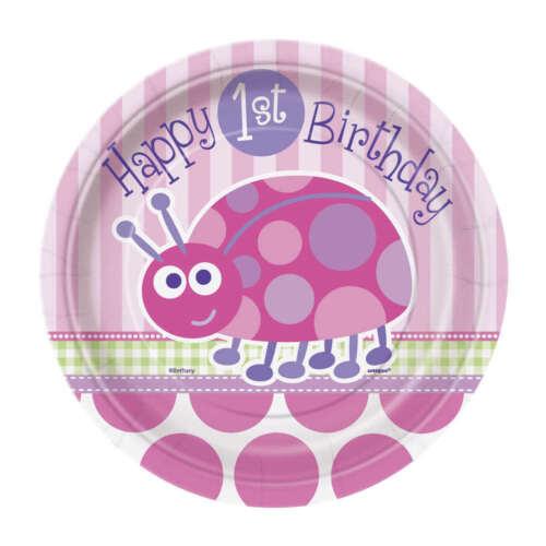 Rosa Feliz Cumpleaños Fiesta Mariquitas 1st Placas Tazas Servilletas Decoración