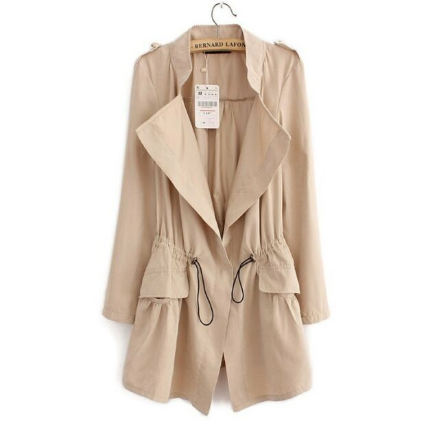 Womens Spring Casual Vintage Drawstring Tops Blazer Jacket Cardigan Dust Coats