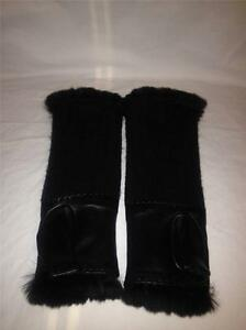 CHANEL Black Lambskin Leather Fur Lined Fingerless Gloves ...
