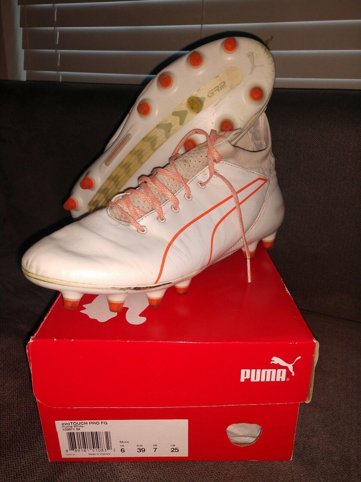 Puma Evo Touch Pro FG Soccer Cleats schuhe Größe 7 Weiß Orange