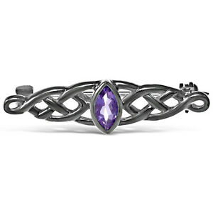 Sterling-Silver-amp-Amethyst-Celtic-Brooch