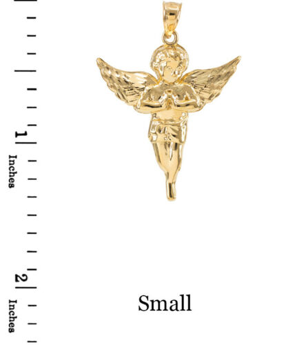 Made In USA Small, Medium, Large Gold Diamond Cut Angel Pendant