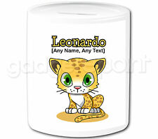 Personalised Gift Tiger Leopard Money Box Safari Animal Piggy Bank Kids Present