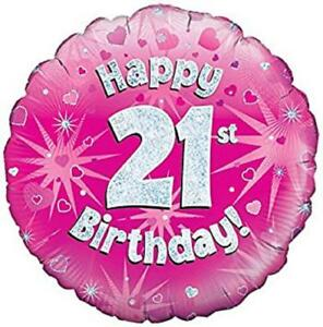Image Is Loading Happy 21st Birthday Pink Party OakTree Foil Helium
