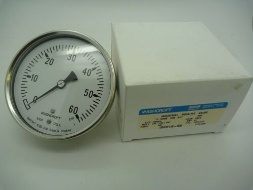 "1//4/"" NPT 10-1008S-02B-XLJ-60# 316 SS 60 psi Ashcroft Pressure Gauge 100 mm"