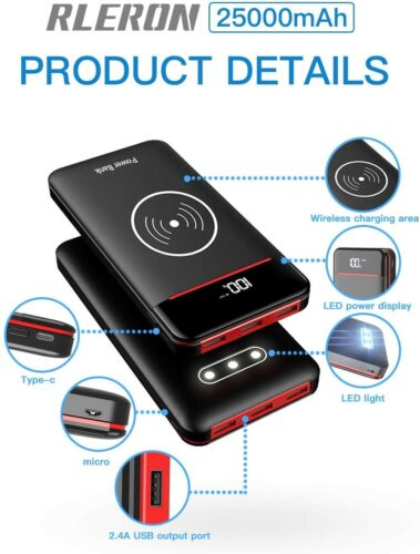 Power Bank Wireless QI 25000mAh Caricabatterie Portatile Ricarica Wireless