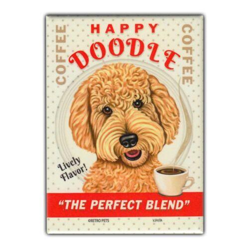 Retro Pets Refrigerator Magnet Goldendoodle Happy Doodle Coffee Advertising