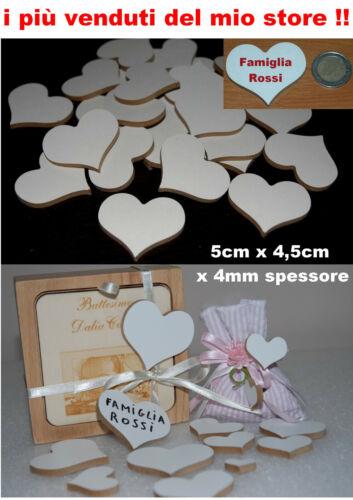 bomboniera 50 cuori in legno di mdf bianco da un lato 3x2,5 cm  matrimonio