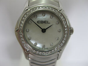 Ladies-Ebel-Classic-Diamond-Bezel-Stainless-Steel-Bracelet-9003F-15-713