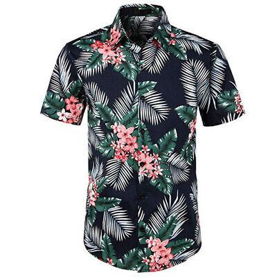 Allthemen Herren Hawaii Hemd und Hose Slim Fit B/ügelleicht Blumen Sets f/ür Mann