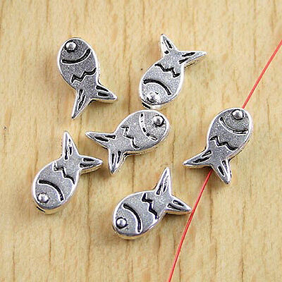 30 Tibetan silver cute crafted fish spacer beads h0769