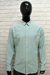 Camicia-a-Righe-Uomo-TRUSSARDI-Taglia-XL-Maglia-Shirt-Man-Verde-Cotone-Colletto