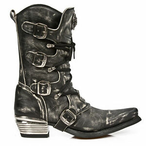 NEWROCK Cowboy Western New Rock M.7993-S3 Rub Off Distressed Leather Goth Boots