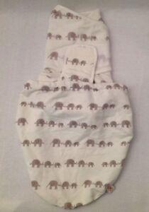 Details About Ergobaby Nwot Original Swaddler Cream Tan Elephants Cotton S M Swaddle New