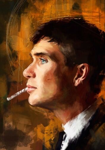 """Peaky Blinders Tommy Shelby Oil Paint Wall Art Canvas 22"""" X 16"""" solid frame pine"""
