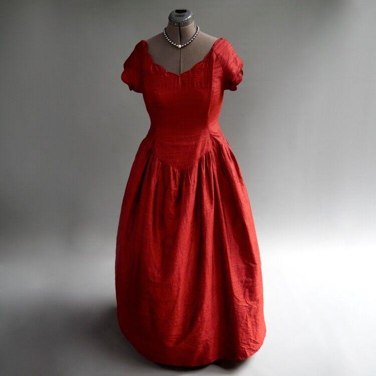 UK Designer Ruby rot Glowing Raw Silk Gothic Steampunk Ball Gown Formal Dress M