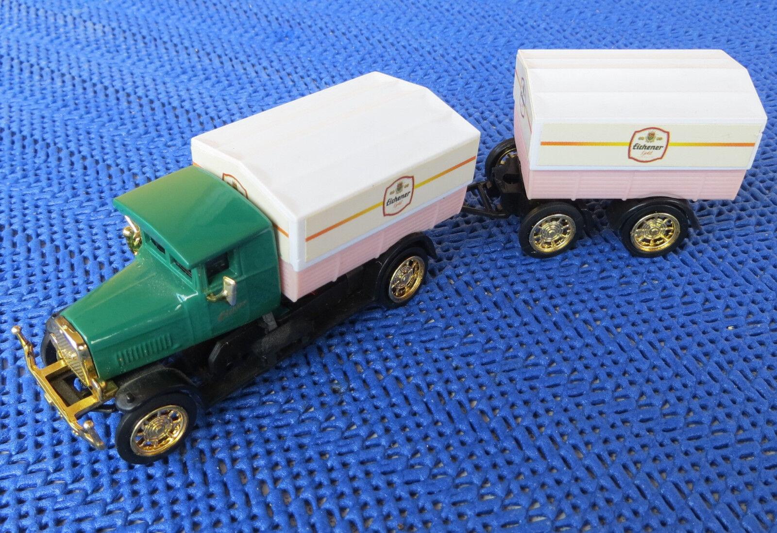 Für H0 Slotcar Racing Modelbahn -- Oldtimer LKW Eichner Hell mit Anhänger