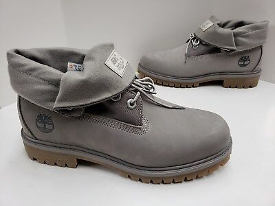 Custom Roll Top Timberland Navy Blue With Grey Wool For Men