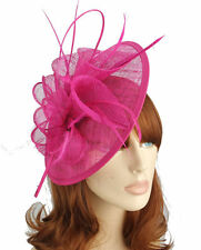 Hot Pink Sinamay Circular Saucer Shaped Hair Fascinator Hatinator 9cm Clip