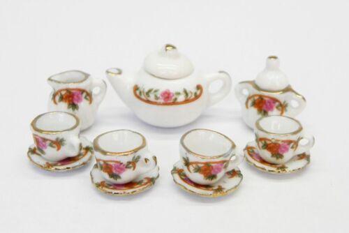 Dollhouse Miniature Petite Dresden Rose Tea Set