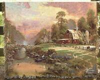 Sunset At Riverbend Farm Tapestry Afghan Throw Artist, Thomas Kinkade