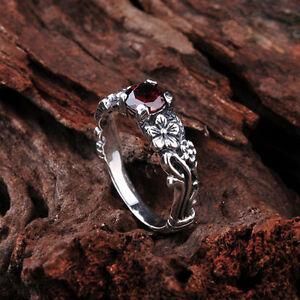 Brand-New-925-Sterling-Silver-Women-Gothic-Style-Flower-Garnet-Gem-Ring-Sz-6-8