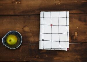 Modern-checked-lines-Laminated-100-Cotton-Twill-fabric-WATERPROOF-white-HLW01